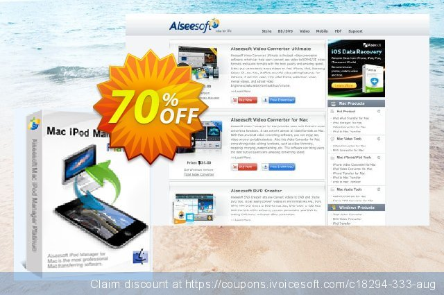 Aiseesoft Mac iPod Manager Platinum discount 70% OFF, 2020 Labour Day offering sales