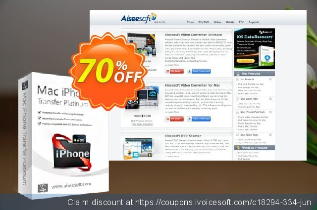 Aiseesoft Mac iPhone Transfer Platinum discount 40% OFF, 2019 New Year offering sales