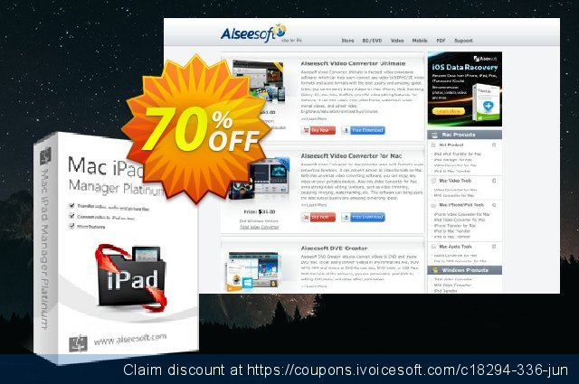 Aiseesoft Mac iPad Manager Platinum 优秀的 优惠券 软件截图