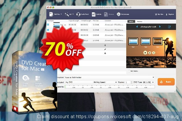 Aiseesoft DVD Creator for Mac discount 40% OFF, 2019 National Women month discount