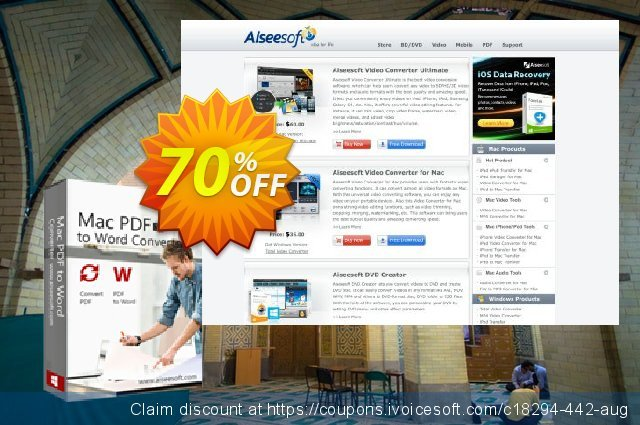 Aiseesoft Mac PDF to Word Converter  최고의   세일  스크린 샷