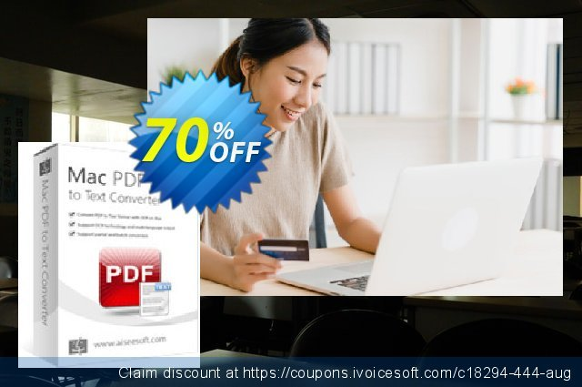 Aiseesoft Mac PDF to Text Converter discount 70% OFF, 2020 Summer offering sales