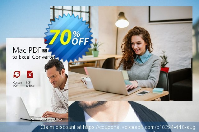 Aiseesoft Mac PDF to Excel Converter discount 70% OFF, 2020 Black Friday discount