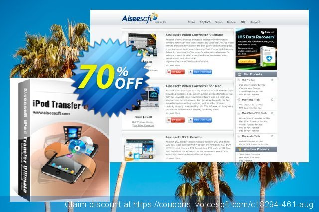 Aiseesoft iPod Transfer Ultimate 可怕的 优惠券 软件截图