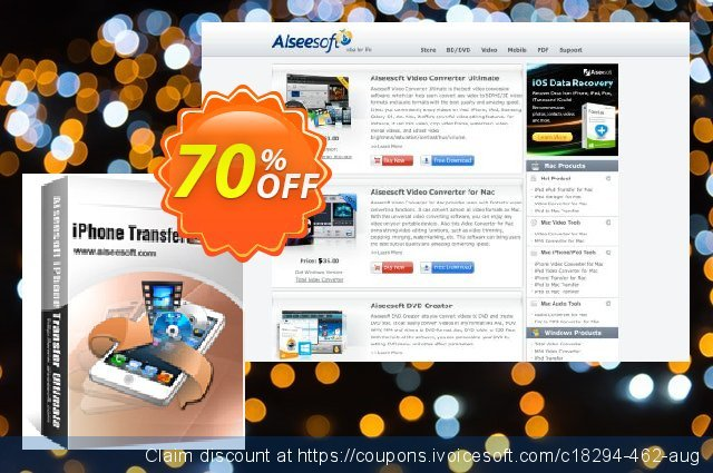 Aiseesoft iPhone Transfer Ultimate discount 70% OFF, 2020 Summer offering sales