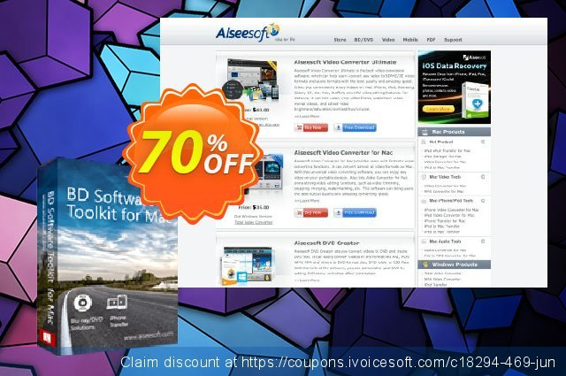 Aiseesoft BD Software Toolkit for Mac discount 40% OFF, 2019 National Women month offering sales