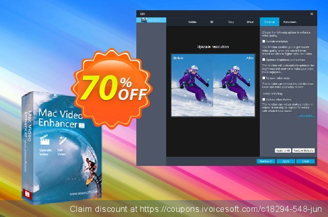 Aiseesoft Mac Video Enhancer discount 40% OFF, 2019 Happy New Year offering sales
