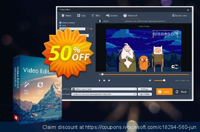Aiseesoft Video Editor discount 40% OFF, 2019 Summer offering sales