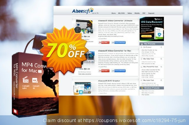 Aiseesoft MP4 Converter for Mac discount 40% OFF, 2019 Father's Day promo sales