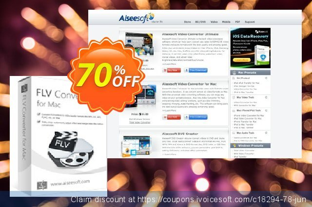 Aiseesoft FLV Converter for Mac discount 40% OFF, 2019 Summer offering sales