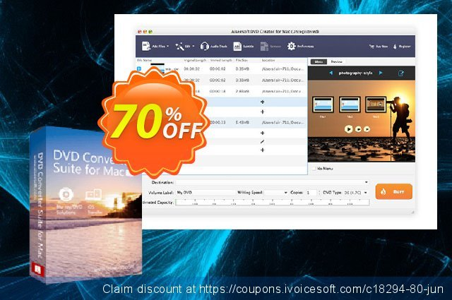 Aiseesoft DVD Converter Suite for Mac discount 40% OFF, 2019 New Year offering deals