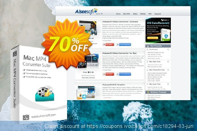 Aiseesoft Mac MP4 Converter Suite discount 70% OFF, 2020 Labour Day offering sales
