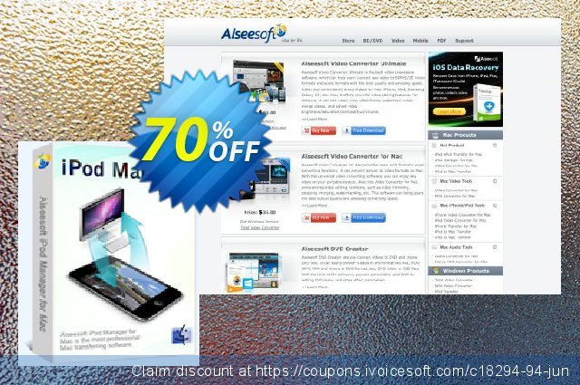 Aiseesoft iPod Manager for Mac discount 40% OFF, 2019 Back to School deals offering sales