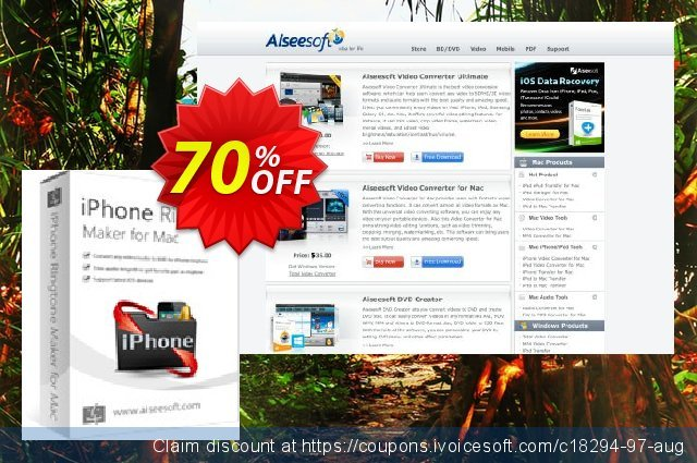 Aiseesoft iPhone Ringtone Maker for Mac discount 70% OFF, 2020 Father's Day offering sales