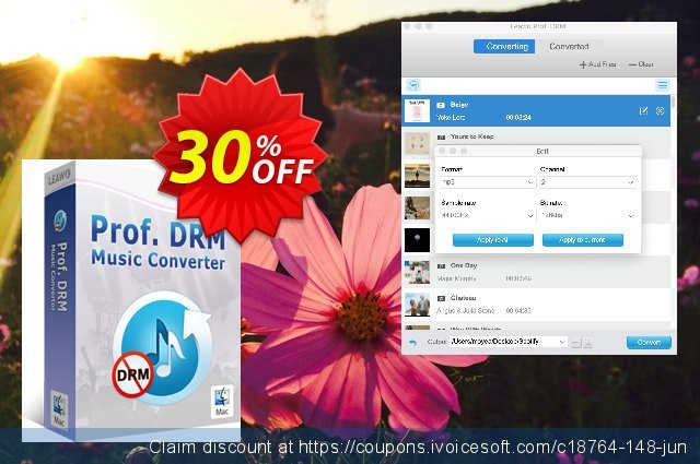 Leawo Prof. DRM Music Converter For Mac discount 30% OFF, 2021 National Savings Day discount. Leawo coupon (18764)
