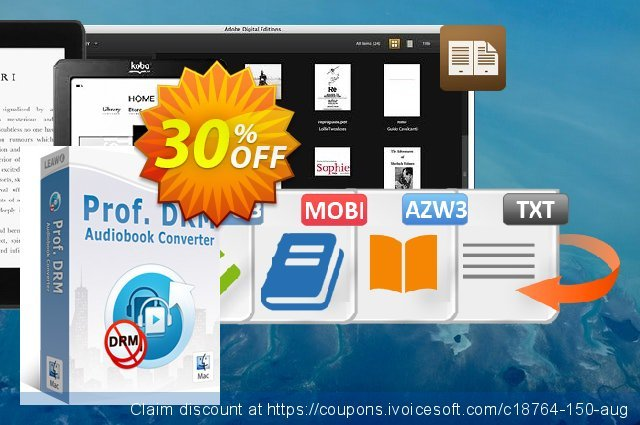 Leawo Prof. DRM Audiobook Converter For Mac discount 30% OFF, 2020 New Year's eve promo sales