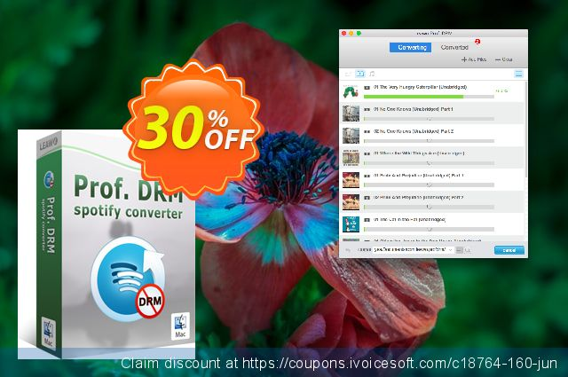 Get 30% OFF Leawo Prof. DRM Spotify Converter For Mac offering sales