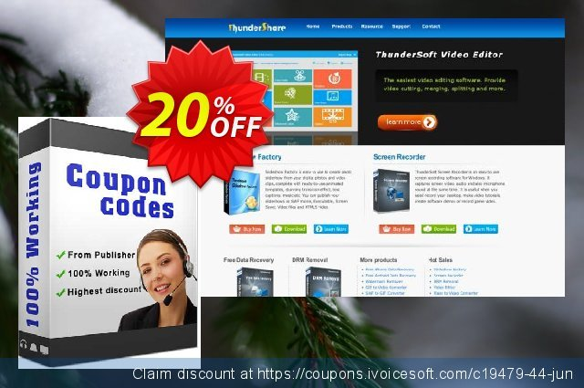 Get 20% OFF ThunderSoft Screen Recorder for Mac offering sales