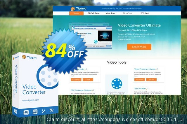 Get 84% OFF Tipard Video Converter Lifetime License offering sales