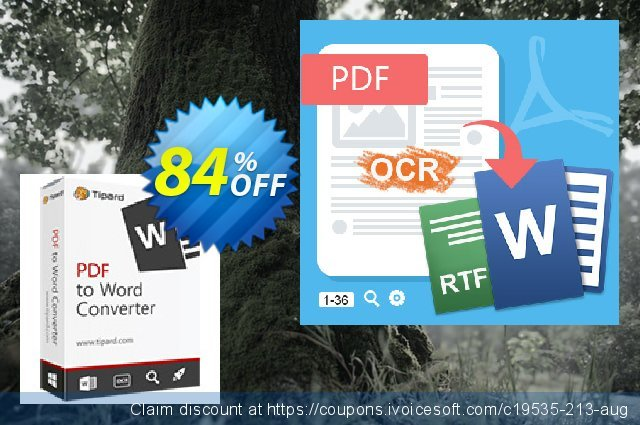 Tipard PDF to Word Converter Lifetime License discount 84% OFF, 2020 Halloween offering sales