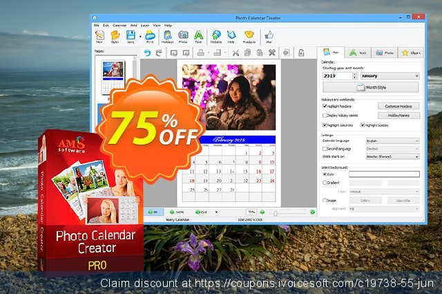 Photo Calendar Creator PRO discount 70% OFF, 2019 Thanksgiving offering sales