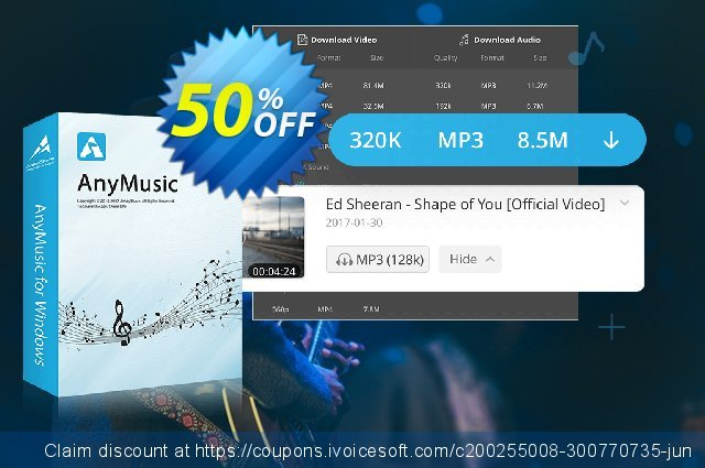 Get 50% OFF AnyMusic Monthly offering sales