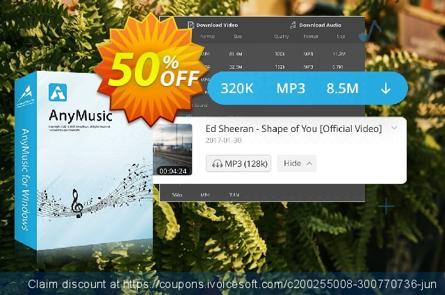 AnyMusic discount 50% OFF, 2021 Columbus Day discounts. Coupon code AnyMusic Win Annually