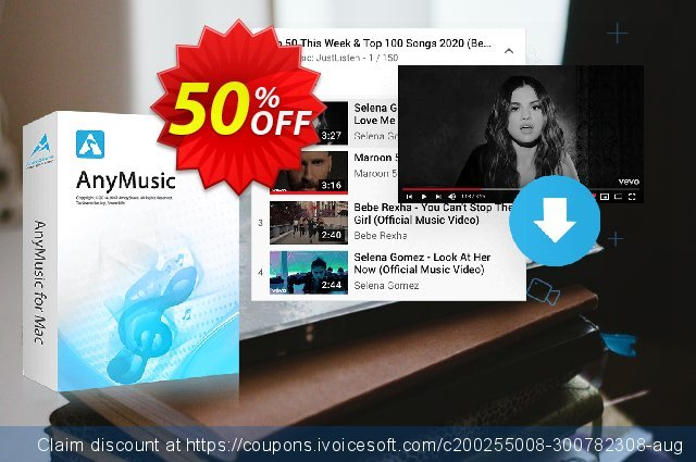 AnyMusic for Mac Monthly discount 50% OFF, 2020 Back to School season discounts