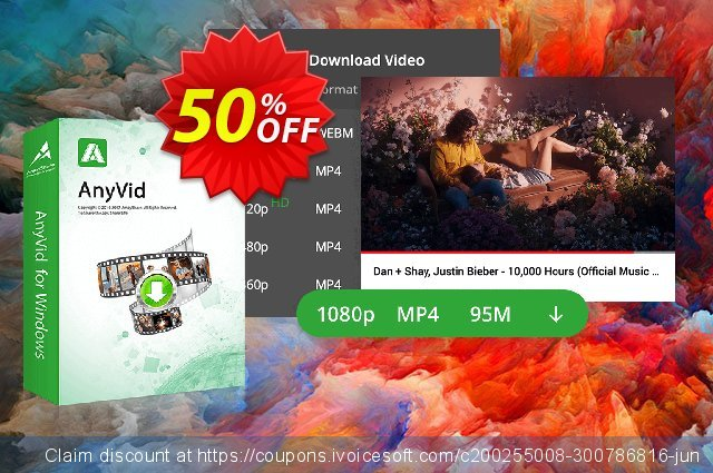 Get 50% OFF AnyVid Monthly offering sales