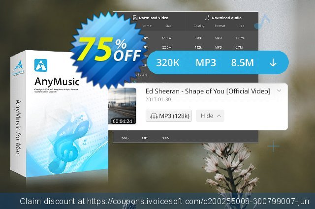 AnyMusic for Mac Lifetime discount 75% OFF, 2020 Labour Day offering sales