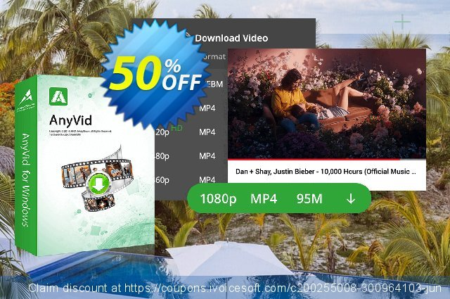 AnyVid 6-Month Subscription discount 50% OFF, 2021 All Hallows' Eve offer. Coupon code AnyVid Win 6-Month Subscription