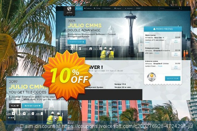 Julio CMMS for Joomla - Professional License discount 10% OFF, 2021 New Year's Weekend promo