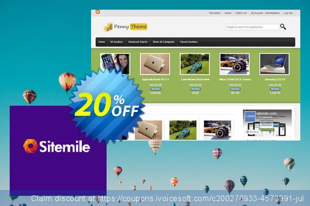 SiteMile WordPress Auction Theme discount 20% OFF, 2020 University Student offer discounts