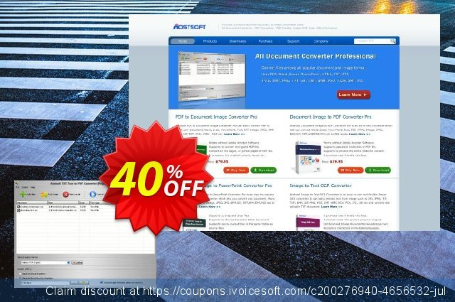 Aostsoft TXT Text to PDF Converter discount 30% OFF, 2020 4th of July offering sales
