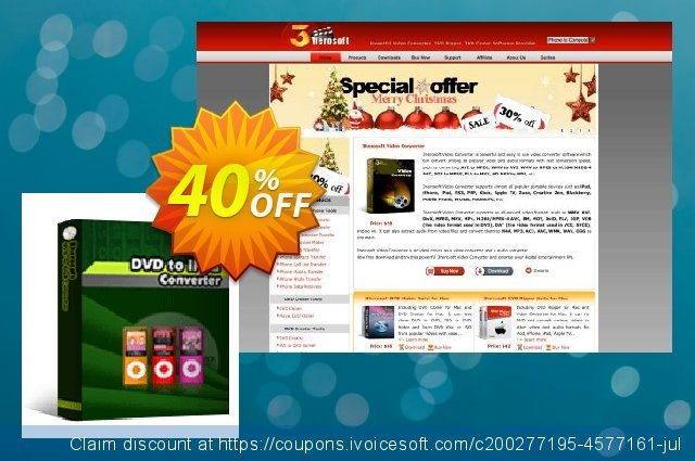 3herosoft DVD to iPod Converter discount 40% OFF, 2020 Back to School coupons offering sales