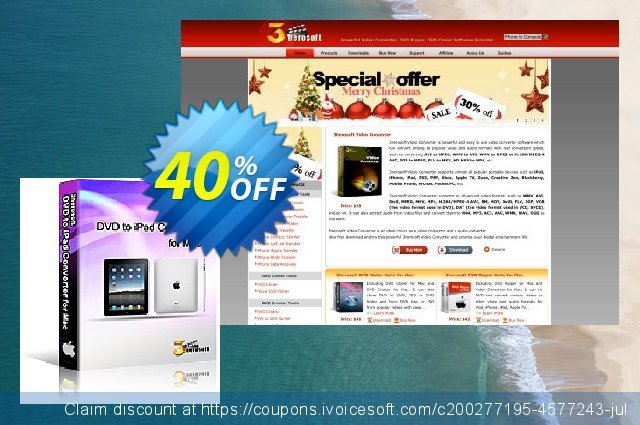 3herosoft DVD to iPad Converter for Mac discount 40% OFF, 2021 Mother's Day offering sales. 3herosoft DVD to iPad Converter for Mac Best offer code 2021