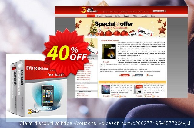 3herosoft DVD to iPhone Suite for Mac discount 40% OFF, 2020 Back to School promotion offering sales