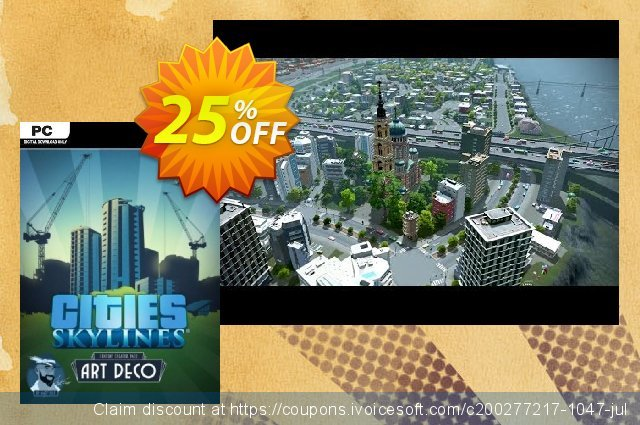 Cities Skylines - Content Creator Pack Art Deco DLC discount 50% OFF, 2020 University Student offer promo