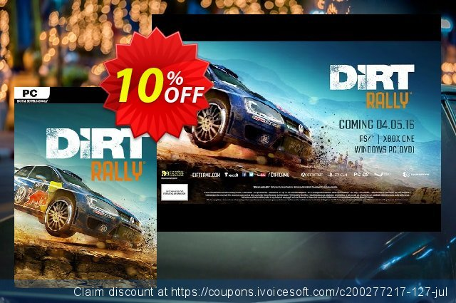 DiRT Rally PC discount 10% OFF, 2021 Mother's Day offering sales. DiRT Rally PC Deal