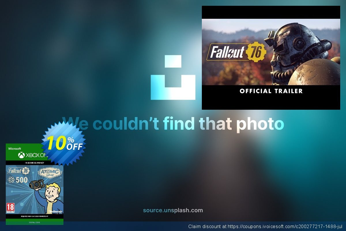 Fallout 76 - 500 Atoms Xbox One discount 10% OFF, 2020 Halloween offering sales