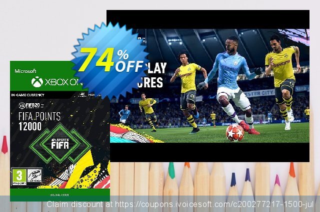 FIFA 20 - 12000 FUT Points Xbox One discount 10% OFF, 2020 Back to School deals offering sales
