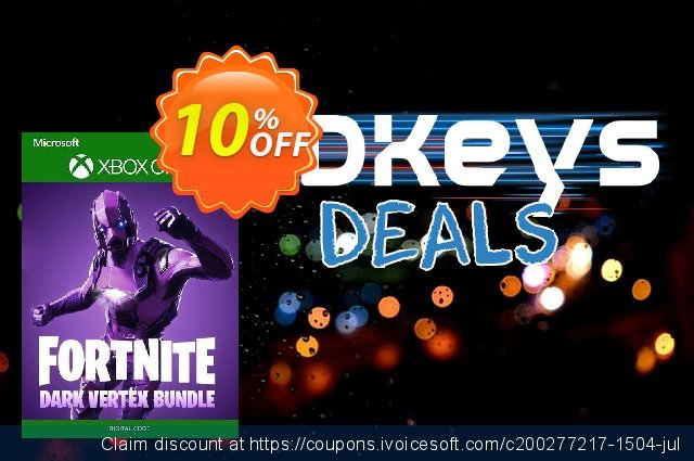 Fortnite Bundle: Dark Vertex + 500 V-Bucks Xbox One discount 10% OFF, 2020 Halloween offering sales