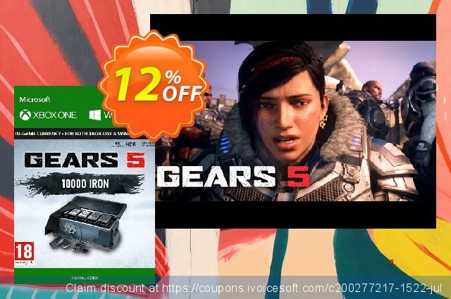 Gears 5: 10,000 Iron + 2,500 Bonus Iron Xbox One discount 12% OFF, 2020 Halloween offering sales