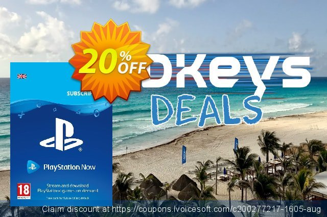 PlayStation Now 12 Month Subscription (UK) discount 20% OFF, 2021 New Year's Day promo sales