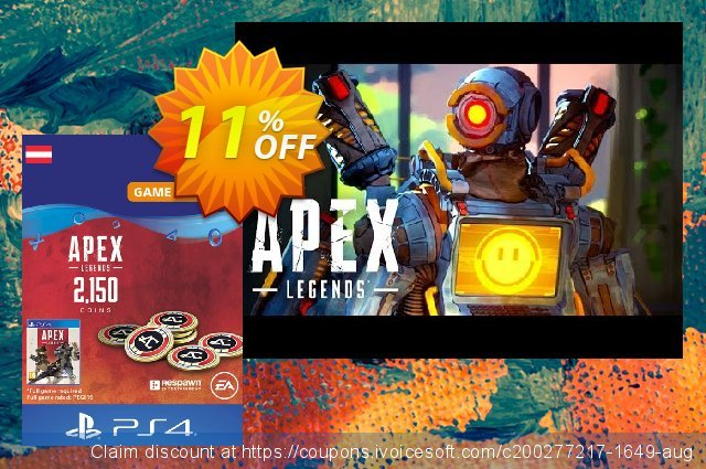 Apex Legends 2150 Coins PS4 (Austria) discount 11% OFF, 2020 Back to School offer offer
