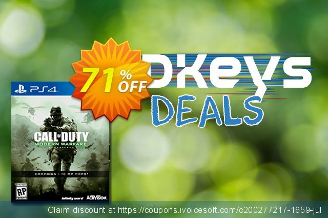 Call of Duty (COD) Modern Warfare Remastered PS4 - Digital Code discount 10% OFF, 2020 College Student deals offering sales