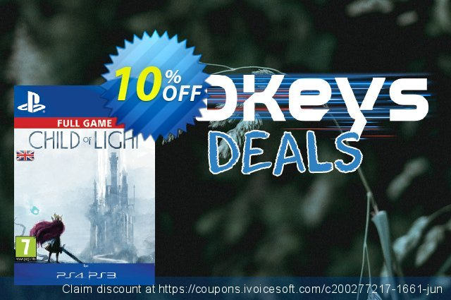 Child of Light PS3/PS4 - Digital Code discount 10% OFF, 2020 College Student deals offering sales