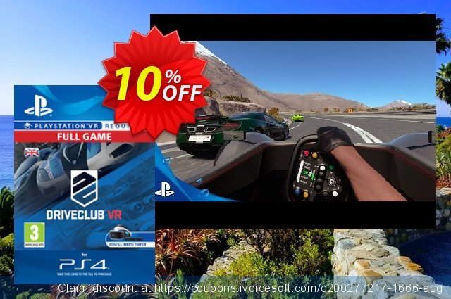 DriveClub VR PS4 discount 10% OFF, 2020 Back to School event sales