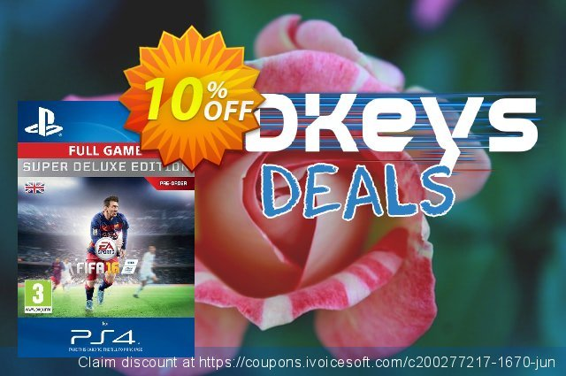 Fifa 16 Super Deluxe PS4 - Digital Code discount 10% OFF, 2020 Back to School offer offering discount