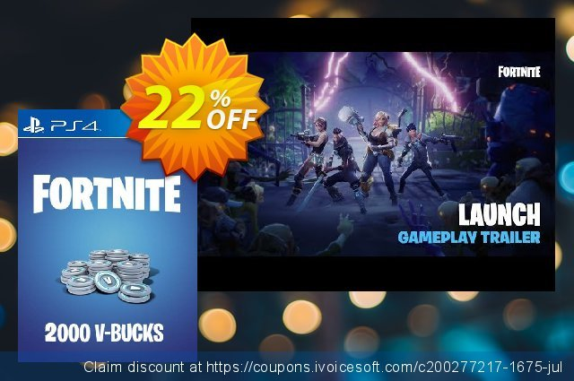 Fortnite - 2000 V-Bucks PS4 (US) discount 33% OFF, 2021 Daylight Saving discount